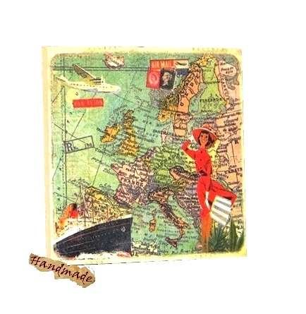 Tablou Vintage Lady Map